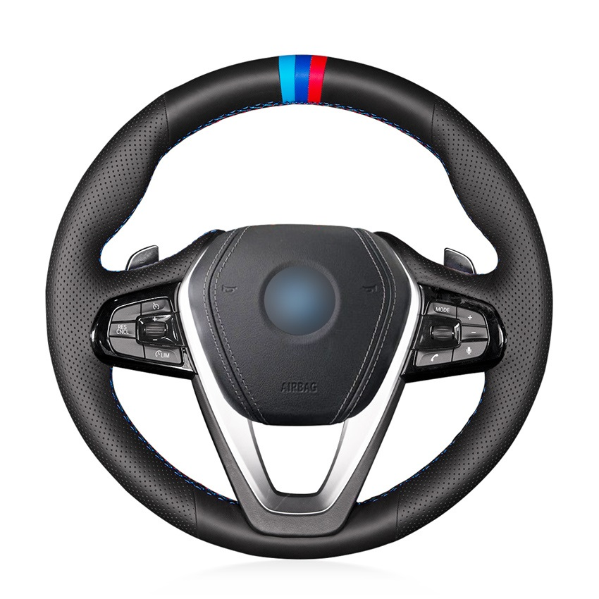 Car Steering Wheel Cover for <font><b>BMW</b></font> <font><b>G30</b></font> <font><b>530i</b></font> 540i 520d 530e 2016-2018 G32 GT 630i 630d 2017-2018 braid on the steering wheel image