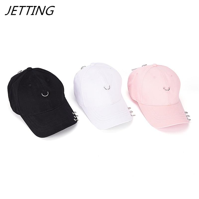 Ring Hoop Baseball Cap Safety Pin Hip Hop Strakback Snapback Hat For Men Women Sport Fishing Cap Dad hat