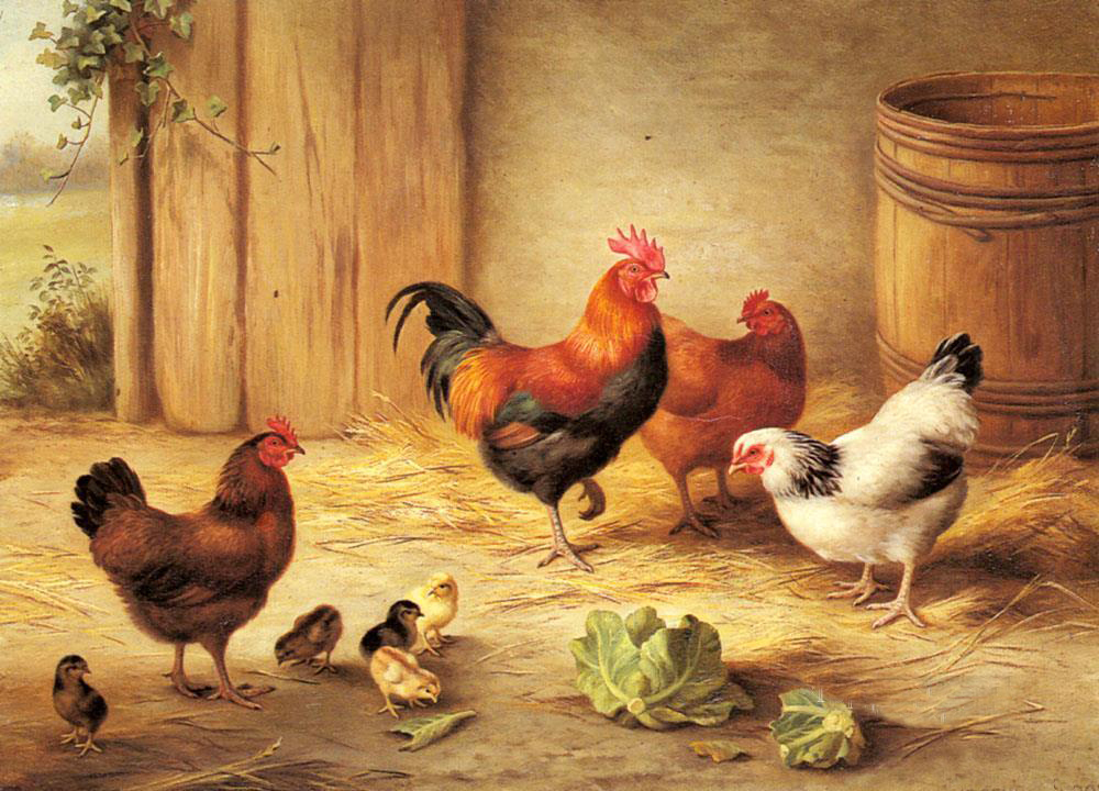 Wholesale animal painting chickens in a barnyard farm for Where to buy home decor