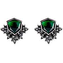 On Sale Promotion Vintage Green Crystal Stud Earrings Women Brincos rhombus Earrings Bijoux Jewelry Gift E5249(China)