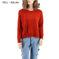 YELL ROLAN 2017 Autumn Winter Fashion Knitting Sweater Women Casual Simplee Pullovers Crew Neck Long Sleeve