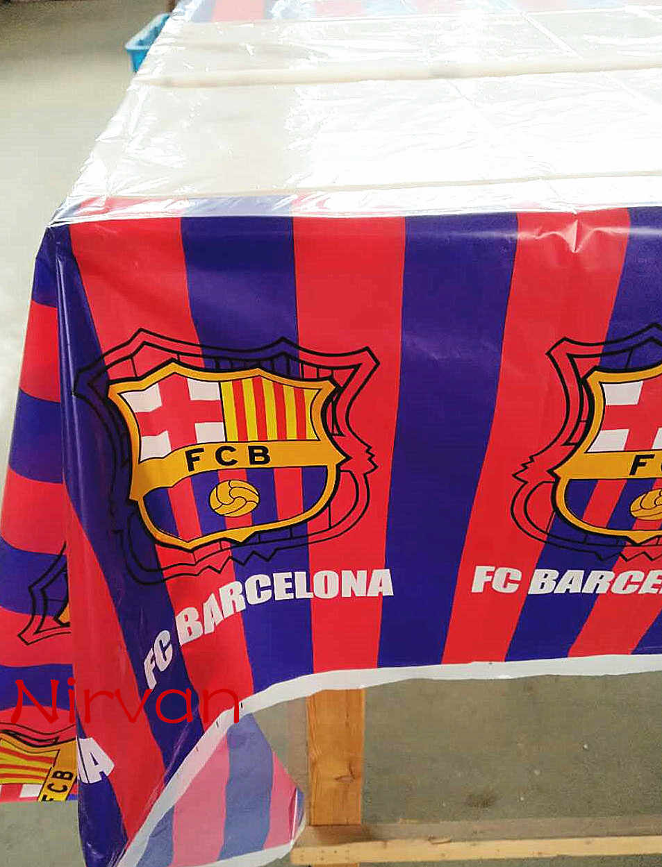 108*180cm Birthday Party Decor Disposable Plastic Waterproof Tablecloth  Supplies Barcelona Champions League Club Map/Table Cover