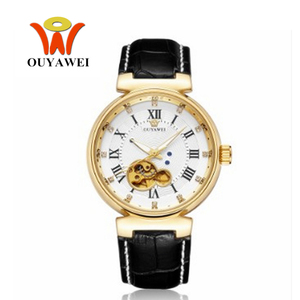 Image 2 - OYW Luxury White Golden Watches Mens Male Automatic Self Wind Dress Watch Leather Band Business Fashion Wristwatch Montre Homme
