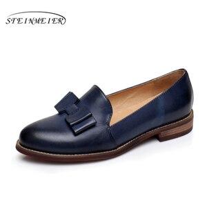 Image 1 - Yinzo kobiety mieszkania Oxford buty kobieta oryginalne skórzane buty sportowe Lady Brogues Vintage obuwie obuwie damskie 2020