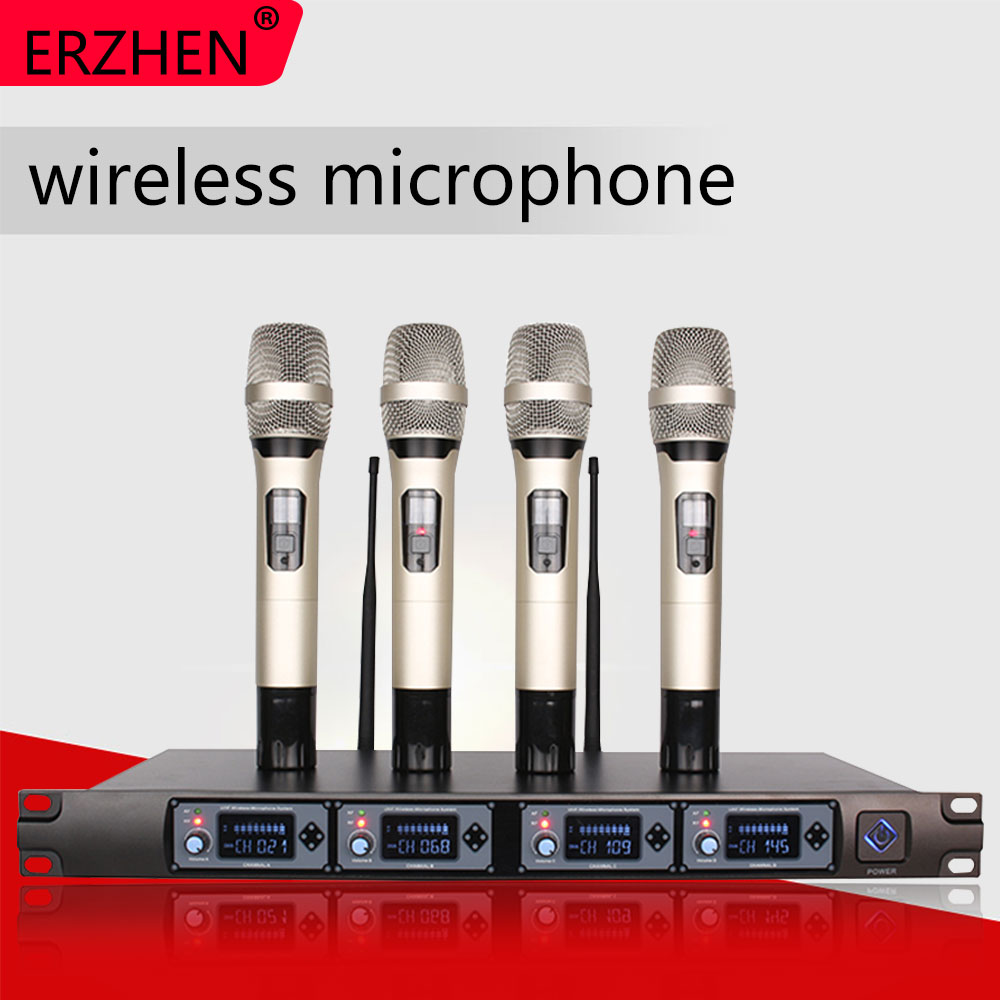 Wireless Microphone System U4000T Professional 4 Channel UHF Dynamic Handheld + Karaoke