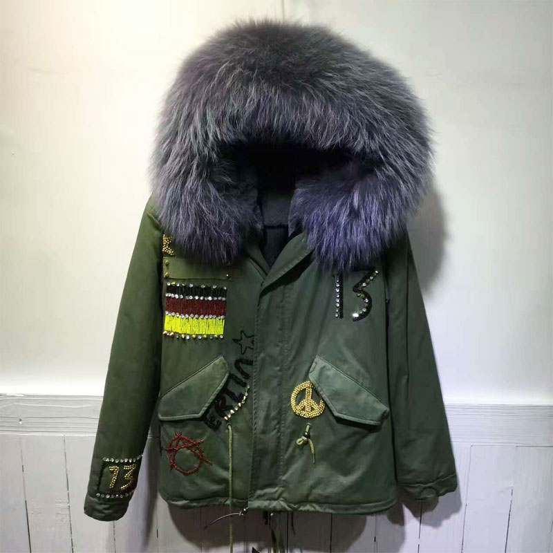 Army Green short Fashion Germany Beading Flag Grey color faux fur lining winter coat raccoon fur hooded