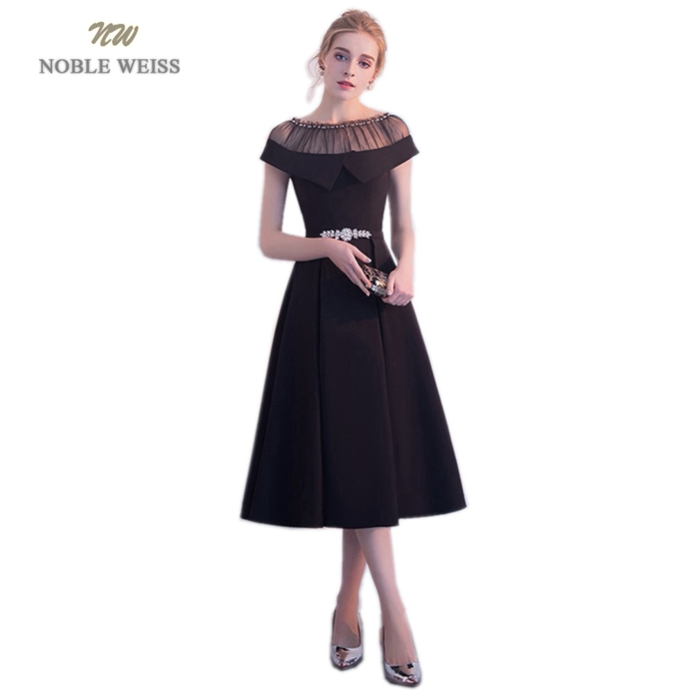 NOBLE WEISS Hot Sale Black Satin Short Prom Dresses Beading Robe De Soiree A-Line In Stock Prom Dress