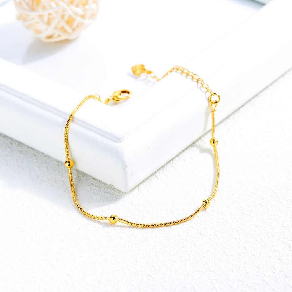 Новая мода золотое Медь Для женщин ссылка браслет Змеиный браслет и шарик Регулируемый Длина без угасания, ювелирное изделие, подарок SL121