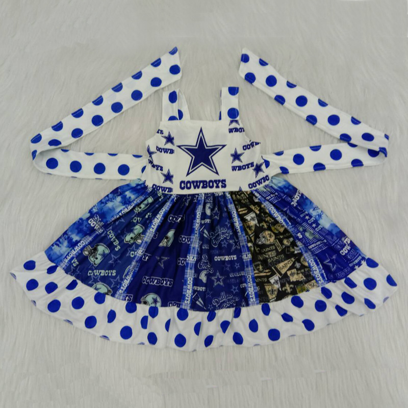Dropshipping Popular Cowboys Satr Girl Dress Princess Baby Clothes Costume Kid's Party Dresses For Girls