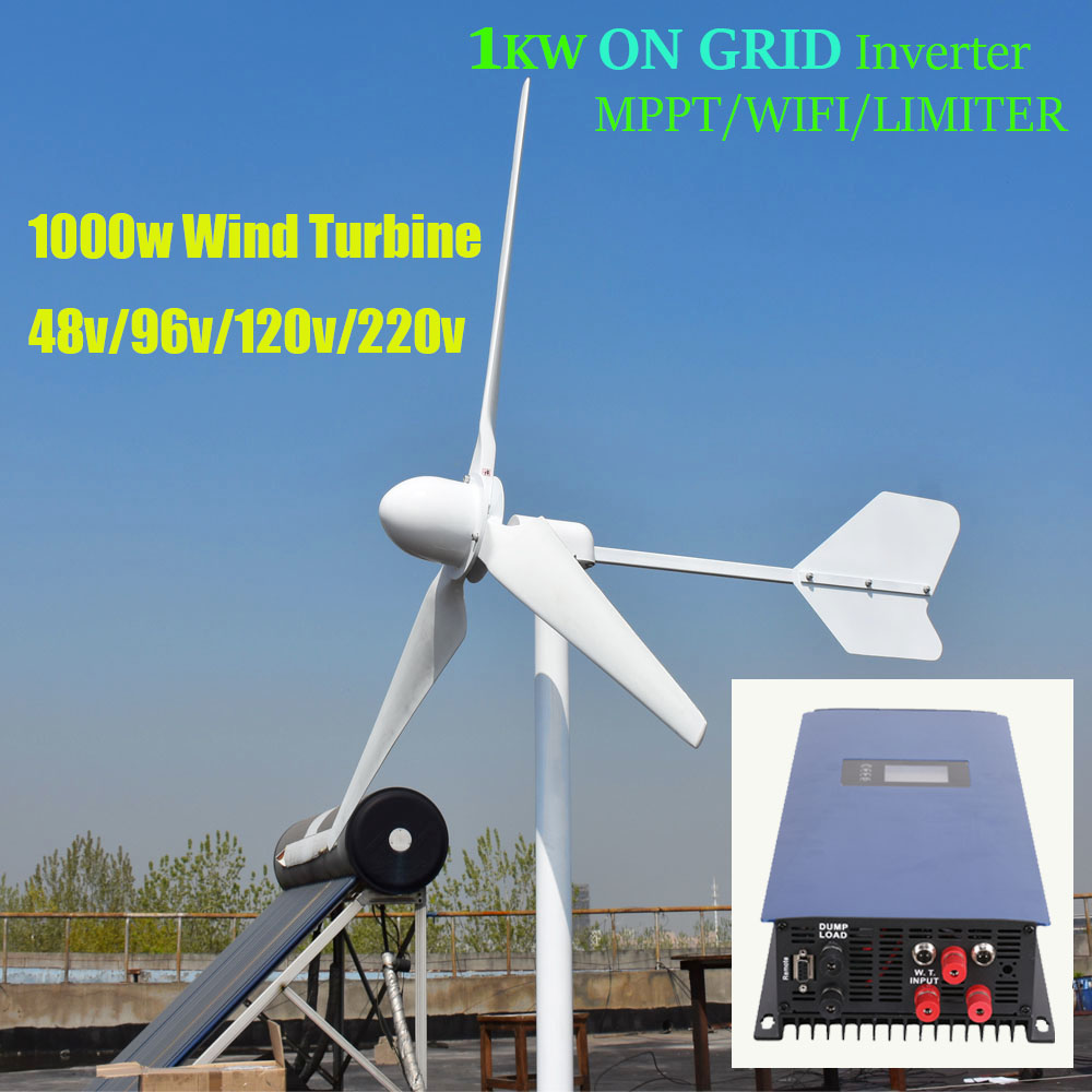 US $1080 0 |FLTXNY 1000w Horizontal Wind Turbine Generator 48v 96v 120v  230v With 1000w Grid Tie MPPT Inverter Bult in WIFI/Limiter-in Alternative