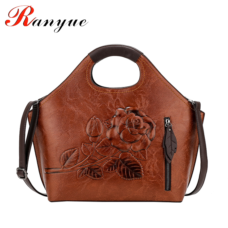 RANYUE Crossbody Floral Bags For Women Fur Ball Luxury Handbags Women Bags Designer High Quality Leather