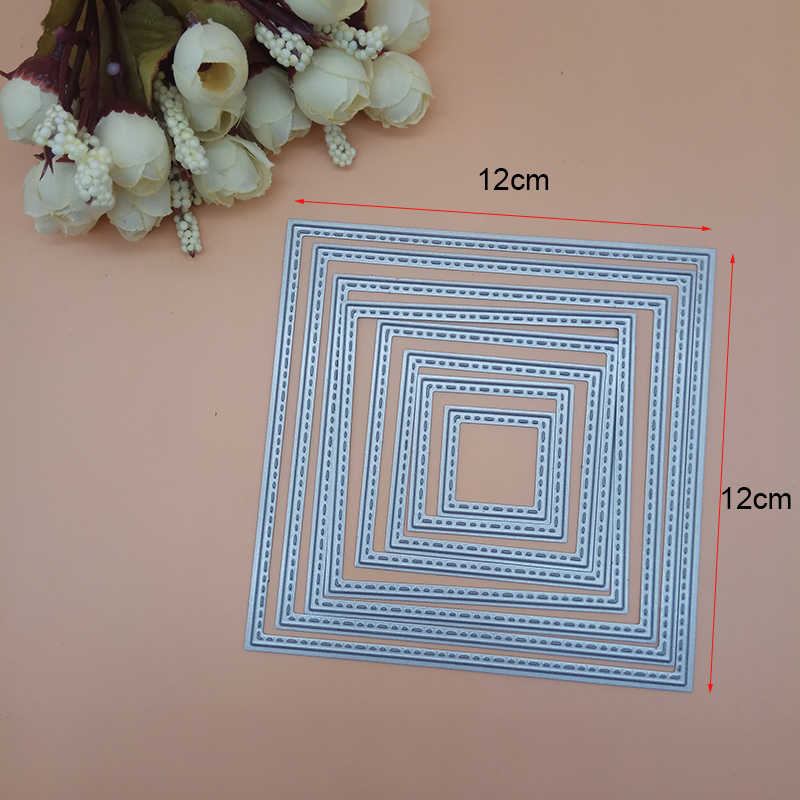 12cm Big size stitched Square Frame set Cutting Dies Punch Scrapbooking Metal Embossing Stamps and die for Card Making DIY