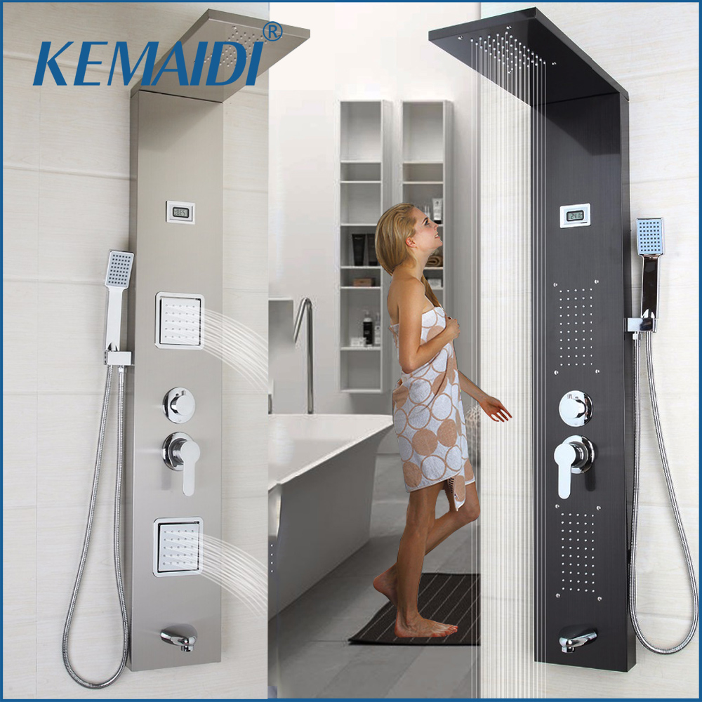 KEMAIDI Moderna Casa de Banho de Aço Inoxidável Coluna Chuveiro Montado Na Parede Uma Alça + Chuveiro de mão + Tub Bico + Sistema de Massagem Chuveiro painel