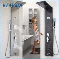 KEMAIDI современная ванная комната из нержавеющей стали душевая Колонка настенная одна ручка + ручной душ + Ванна Носик + массажная система душе