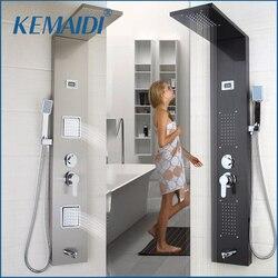 KEMAIDI Moderne Badezimmer Edelstahl Dusche Spalte Wand Ein Griff + Handbrause + Badewanne Auslauf + Massage System Dusche panel