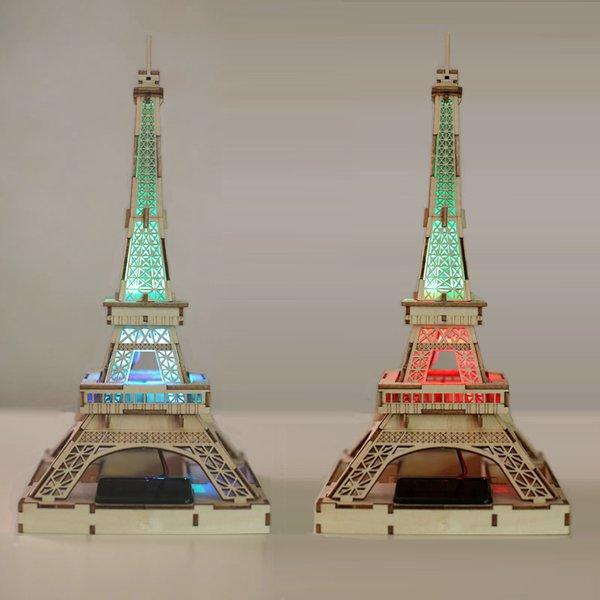 Freeshipping Children DIY 3D LED Light Solar Power DIY Wooden Eiffel Tower Toys Kits Assemble Toys For Gifts