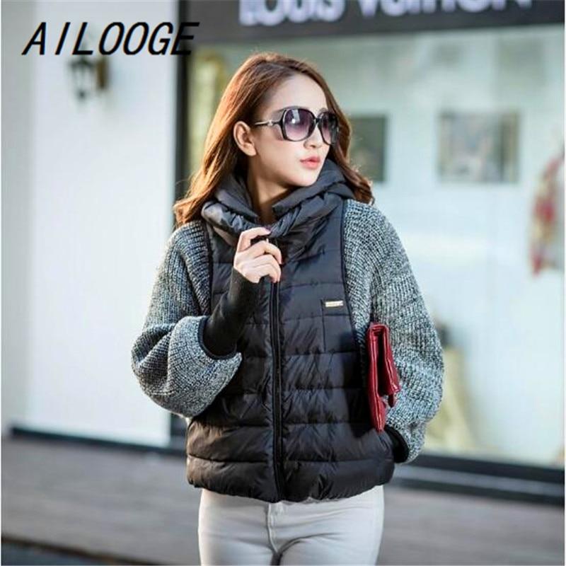 AILOOGE 2018 Women's Down Jacket Knit Bat Sleeve Winter Jacket Women Short Coats Brand   Parka   Hooded Camperas Large Size Jackets