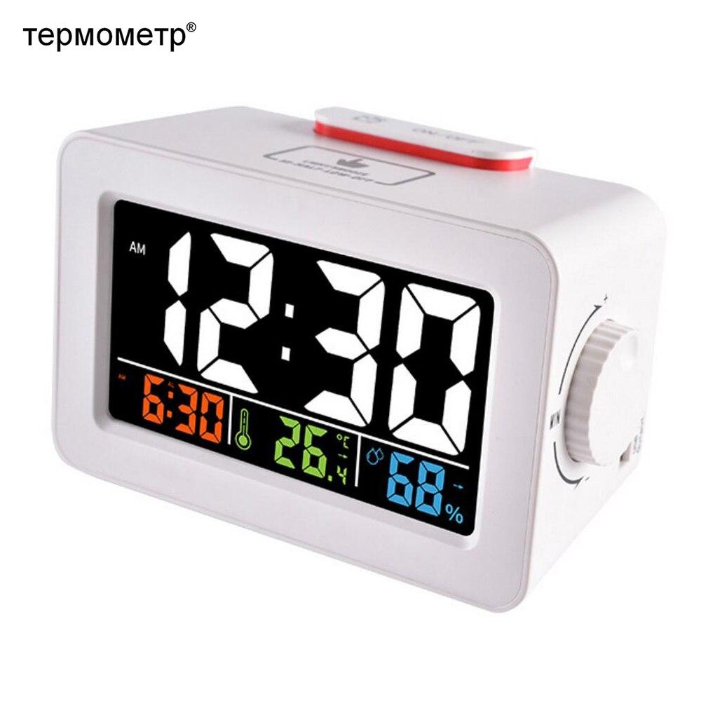 Cadeau Idées Numérique Horloge De Bureau D'alarme Snooze avec Température Thermomètre Humidité Hygromètre Coloré Table Téléphone Chargeur Horloge