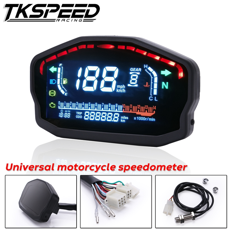 For 1 2 4 Cylinders Motorcycle Universal LED LCD Speedometer Digital Backlight Odometer For BMW Honda
