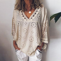 Women blouse Hollow Out Lace Patchwork tops women plus size 5xl Geometry v neck summer Shirt vrouw Blouse large size Tops