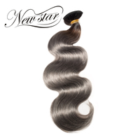 NEW STAR 10'' 30'' 1B/Grey Body Wave Brazilian Bundles Thick Human Hair Extension Remy Hair Weave Salon Supplies Double Weft