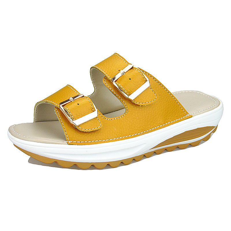 Shoes Woman Slides Platform Slippers Shoes Women Split Leather Sandals Casual Beach Europen Style High Quality Student Shoes in Slippers from Shoes