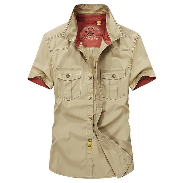 Alta qualidade grande tamanho S-5XL 2017 Europa estilo verão dos homens moda casual marca camisa curta homem 100% puro algodão cáqui camisas