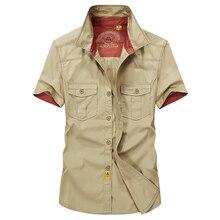 High quality large size S-5XL 2017 Europe style men's summer fashion casual brand short shirt man 100% pure cotton khaki shirts