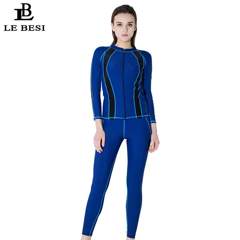 LEBESI 2018 New Womens Professional One Piece Swimsuit With Long Sleeve Pants Sports Swimwear Plus Size Beachwear Bathingsuit
