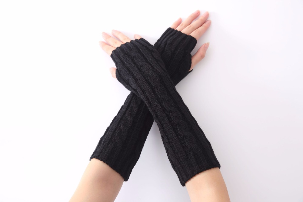 1pair Long Braid Cable Knit Fingerless Gloves Women Handmade Fashion Soft Gauntlet Practical Casual Gloves