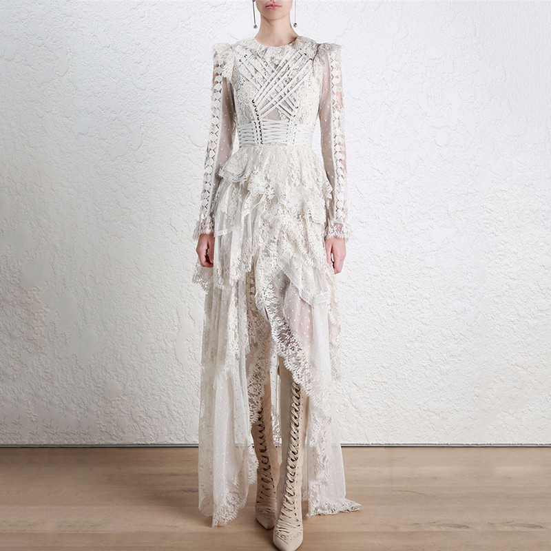 [ QLZW] 2018 New Summer Women fashion Lace stitching irregular Drawstring Gauze Perspective Sexy Fairy dress RB084