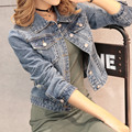 2016 Women Denim Short Jackets Autumn Casual Fashion Vintage Blue Skinny Hole Hollow Elastic Female Jeans Coat Plus Size XL