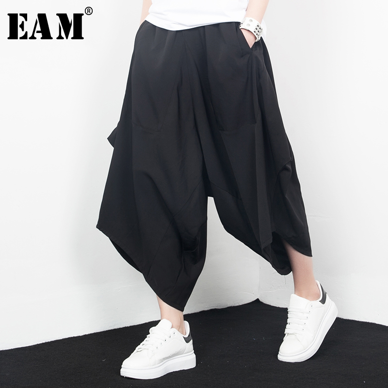 [EAM] 2019 New Spring High Waist Solid Color Black Irregular Pocket Loose   Wide     Leg     Pants   Women Trousers Fashion J67201