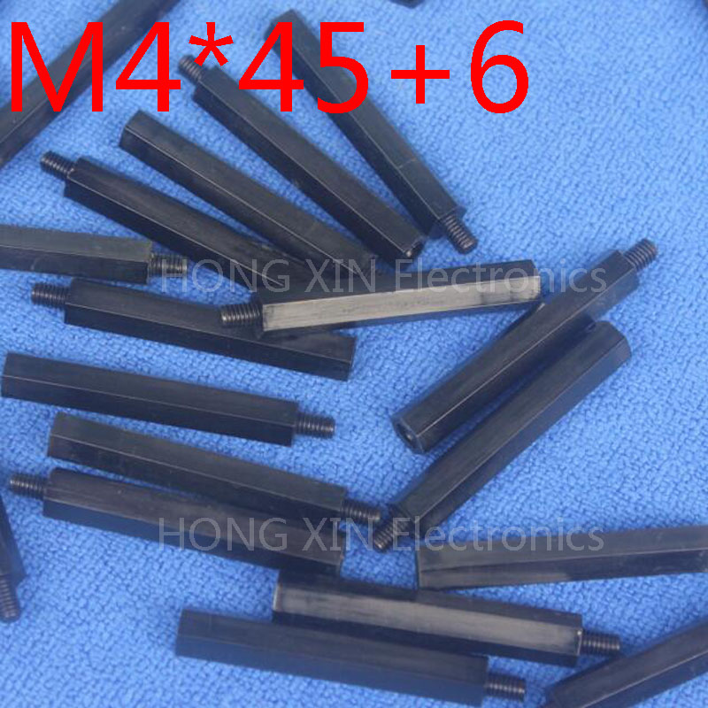 M4*45+6 Black 100pcs Nylon Standoff Spacer Standard M4 Plastic Male-Female 45mm Standoff Kit Repair Set High Quality m3 18 6 1 pcs black nylon standoff spacer standard m3 male female 18mm standoff kit repair set high quality