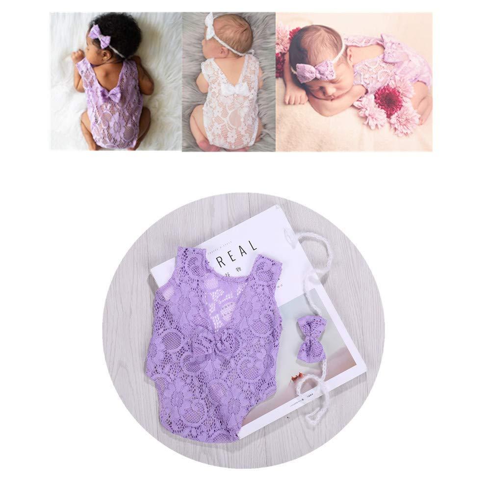 Newborn Infant Baby Photography Props Girls Lace Bow Vest Bodysuits Romper Photo Shoot Princess Clothes