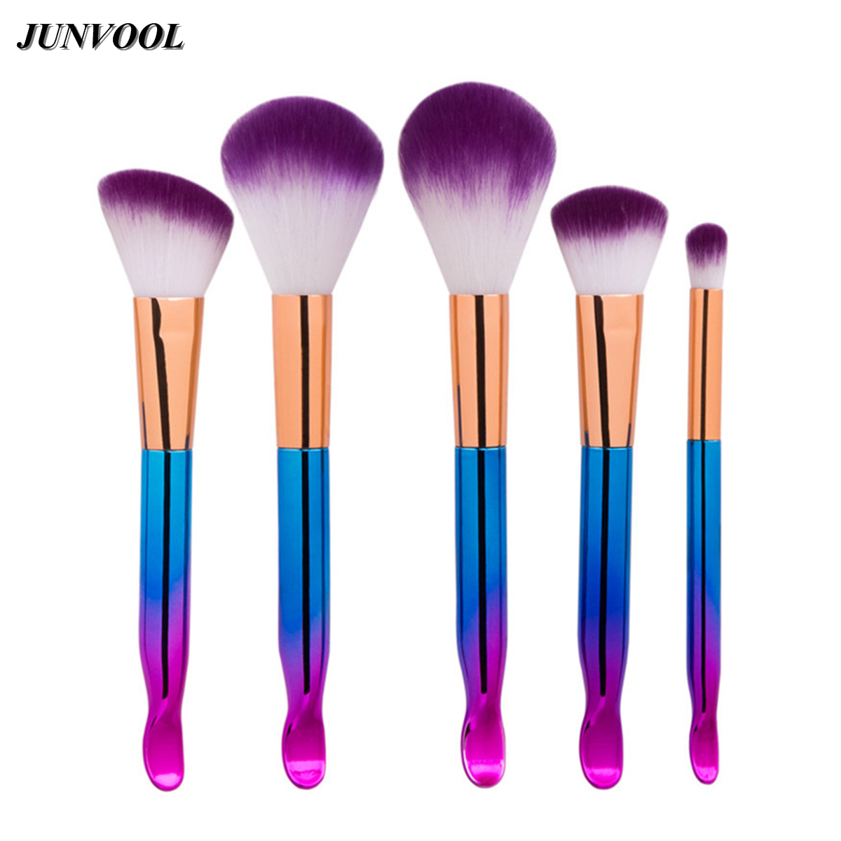 New Colorful Makeup Brush Set 5pcs Fashion Purple Hair Foundation Eyeshadow Blusher Make Up