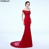 YIDINGZS Robe De Soiree Mermaid Wine Red Long Evening Dresses Party Elegant Vestido De Festa 2017