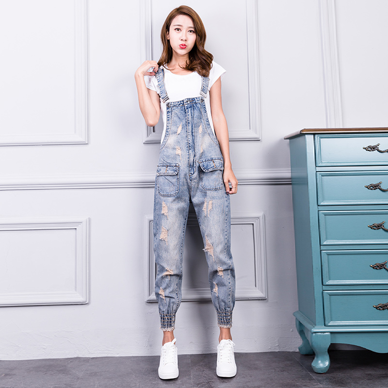 22aa1ce71b42 ... Women Jumpsuit Denim Overalls 2018 New Spring Ripped Pockets Full  Length Denim Jeans Jumpsuit. -16%. Click to enlarge