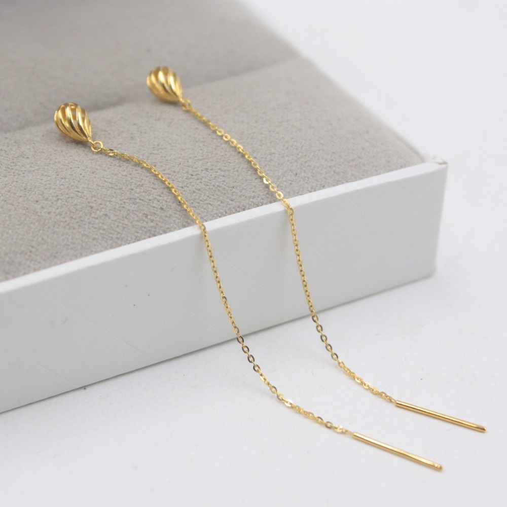 Authentic 18K Yellow Gold Earrings Raindrop O Link Chain For Women Girl Drop Earrings Line 80mmL 1-1.2g Hot 2019Authentic 18K Yellow Gold Earrings Raindrop O Link Chain For Women Girl Drop Earrings Line 80mmL 1-1.2g Hot 2019