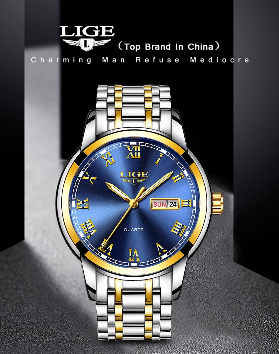 HTB1pF3rdA5E3KVjSZFCq6zuzXXaA LIGE Watch Men Fashion Sports Quartz Full Steel Gold Business Mens Watches Top Brand Luxury Waterproof Watch Relogio Masculino