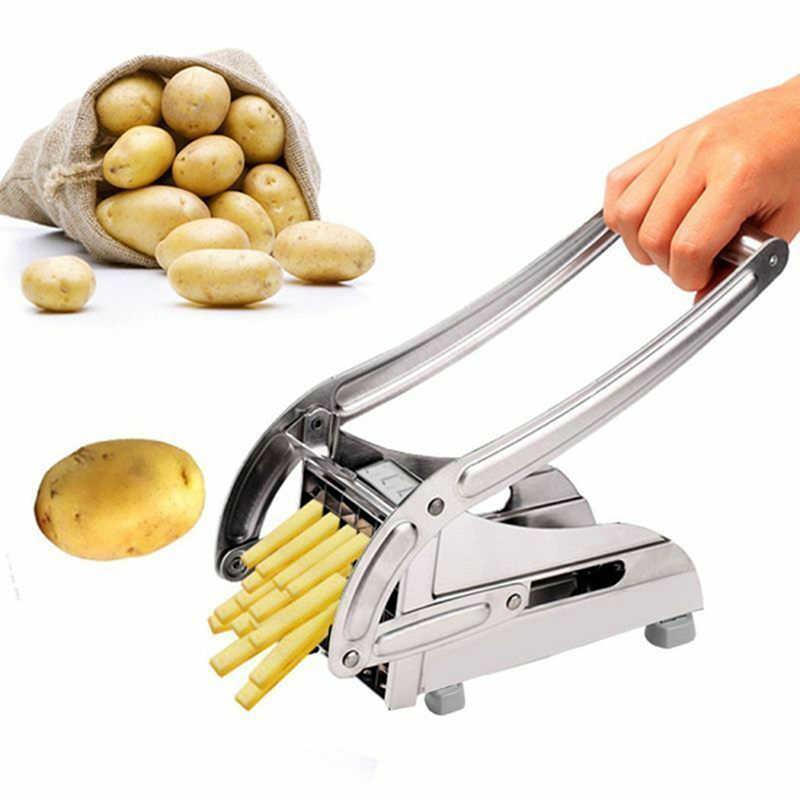 Chopper Potato Chipper สำหรับแตงกวาแครอทเครื่องตัดทอดฝรั่งเศส 2 ใบมีดสแตนเลสสตีลเครื่องตัด