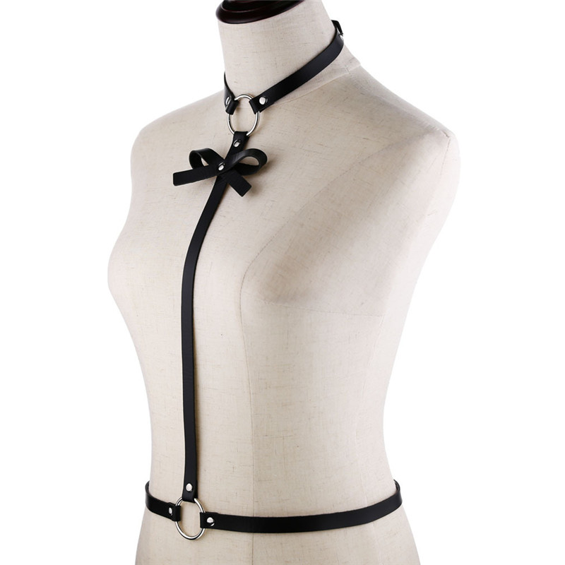 HATCYGGO Sexy Slim Leather Shoulder Harness Belts For Women Bowknot Chest Harness Adjustable Belt Female Black Body Harness Set in Women 39 s Belts from Apparel Accessories