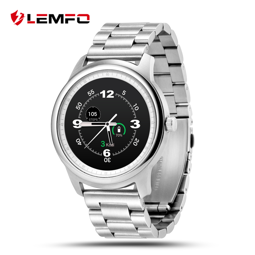 LEMFO LEM1 Smart Watch Business Style For Men Women Leather Strap Full HD Screen Bluetooth Synchronous for IOS Android Phone цена