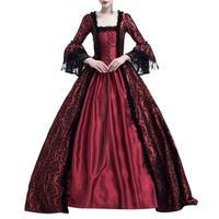 NEW large size 3XL Women Retro Medieval lace Party Princess Renaissance Cosplay Lace Floor Length Dress vintage dress black red