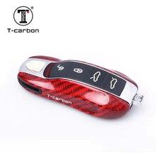 все цены на Red Carbon Fiber Car Key Case Protective Shell Styling Bag Box For Porsche Cayenne Macan Cayman Boxster 911 онлайн