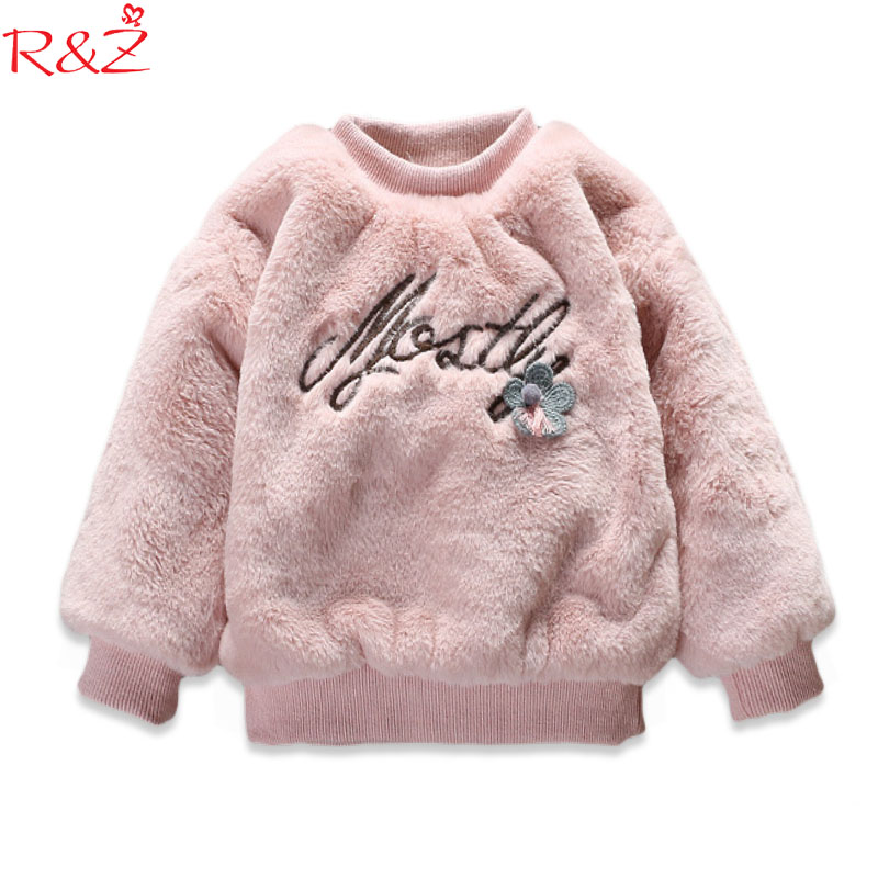 R&Z Baby Girls Clothings Coats 2017 Korean Winter Thick Sweater Long-sleeved Letter T-shirt for Kids Clothes Children's Clothing