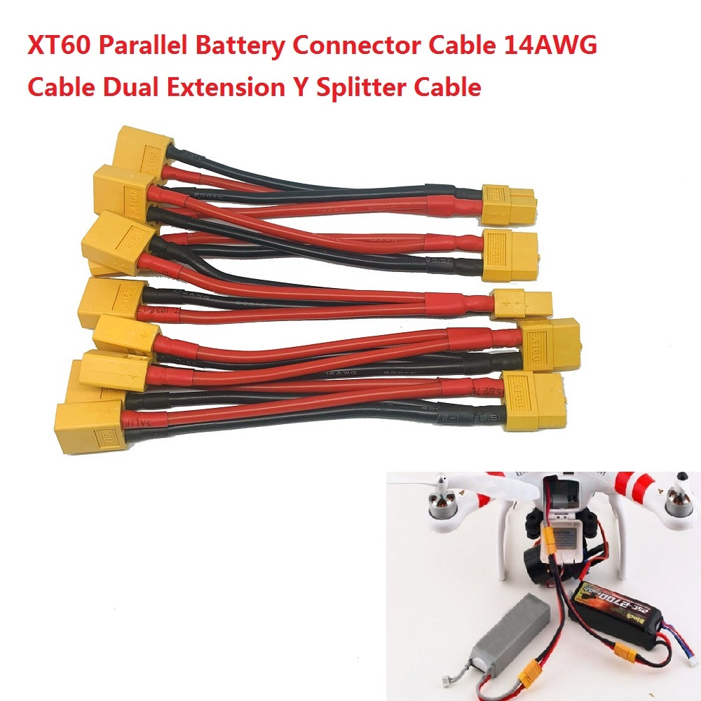 T Plug Parallel Battery Connector Cable Deans Style Parallel Y-Harness For RC LiPo Battery Male and Female Connectors x 3 PCS WST