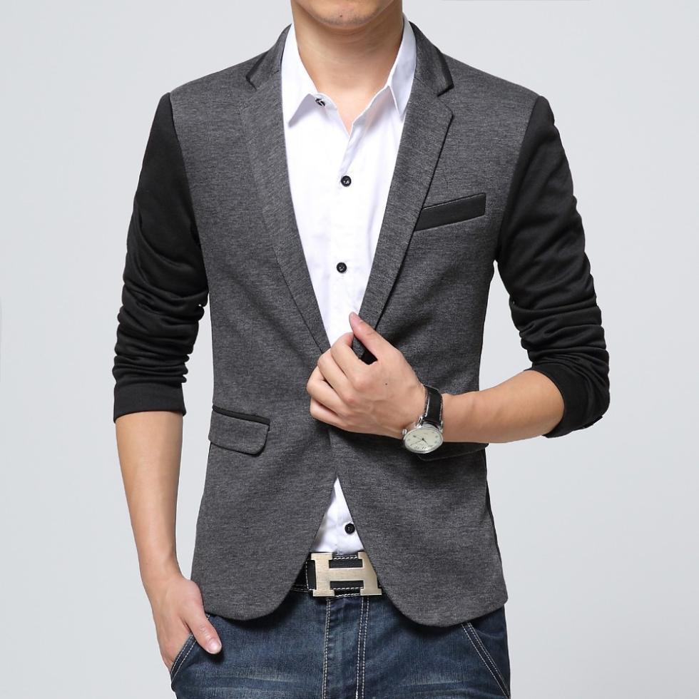 Novi Slim Fit Casual jakna pamuk Muška jakna jakna jedan gumb Siva - Muška odjeća - Foto 3