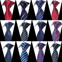 8cm Width Mens Ties New Fashion Plaid Neckties Corbatas Gravata Jacquard Woven Slim Tie Business Wedding Stripe Neck For Men