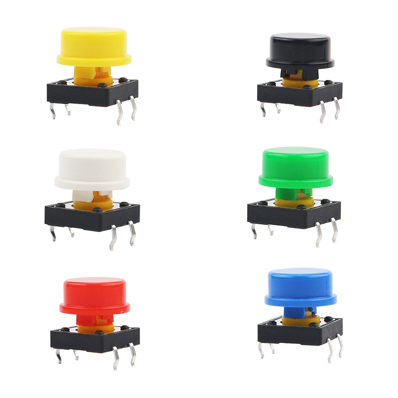 6pcs/lot Switch Key Module12*12**7 4 Pin Switch Button + Botton Hat Black Red Blue Yellow Green White For  Accessory